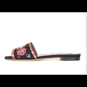 🆒 Tabitha Simmons Black Canvas Sprinkle Sandals